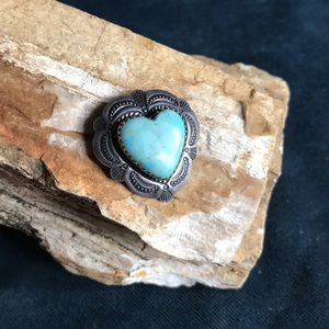 Native American Sterling &Turquoise Heart Pendant